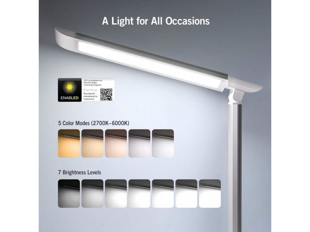 TaoTronics TT-DL13 Touch control desk lamp with USB port, White