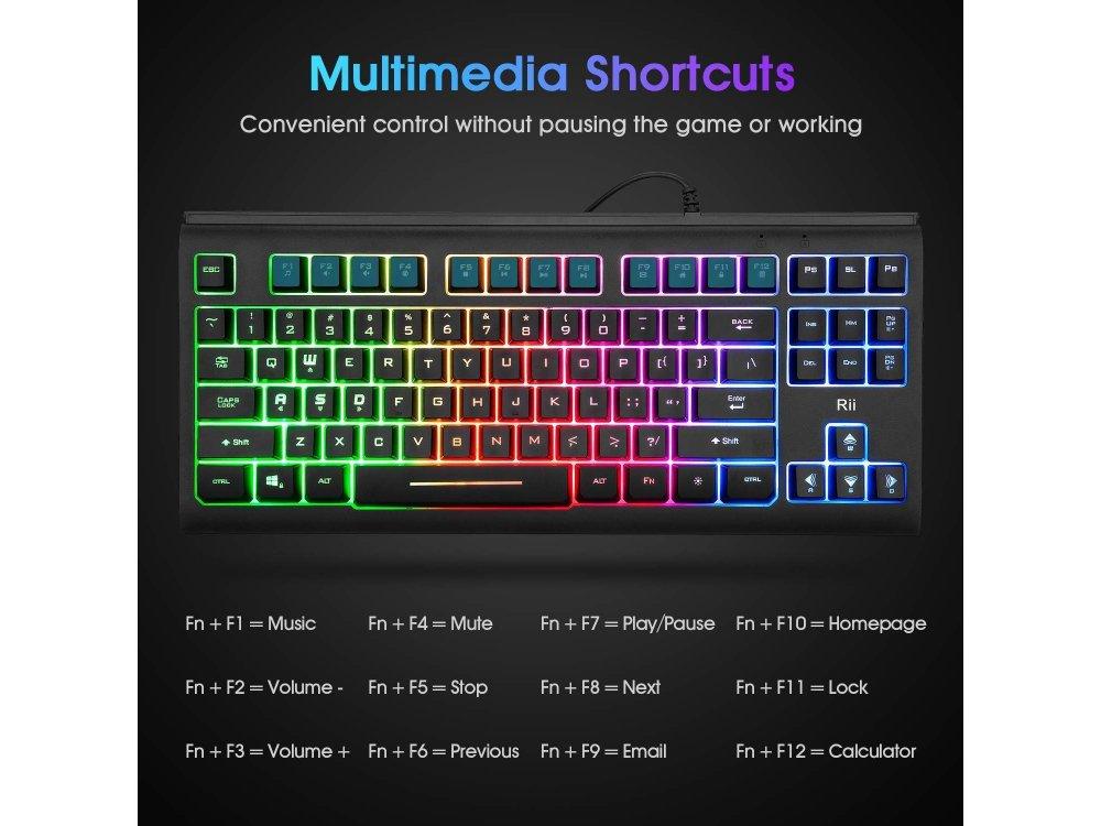 Rii Primer RK104 Mini Gaming Keyboard 87 keys with LED lights for PC / Laptop