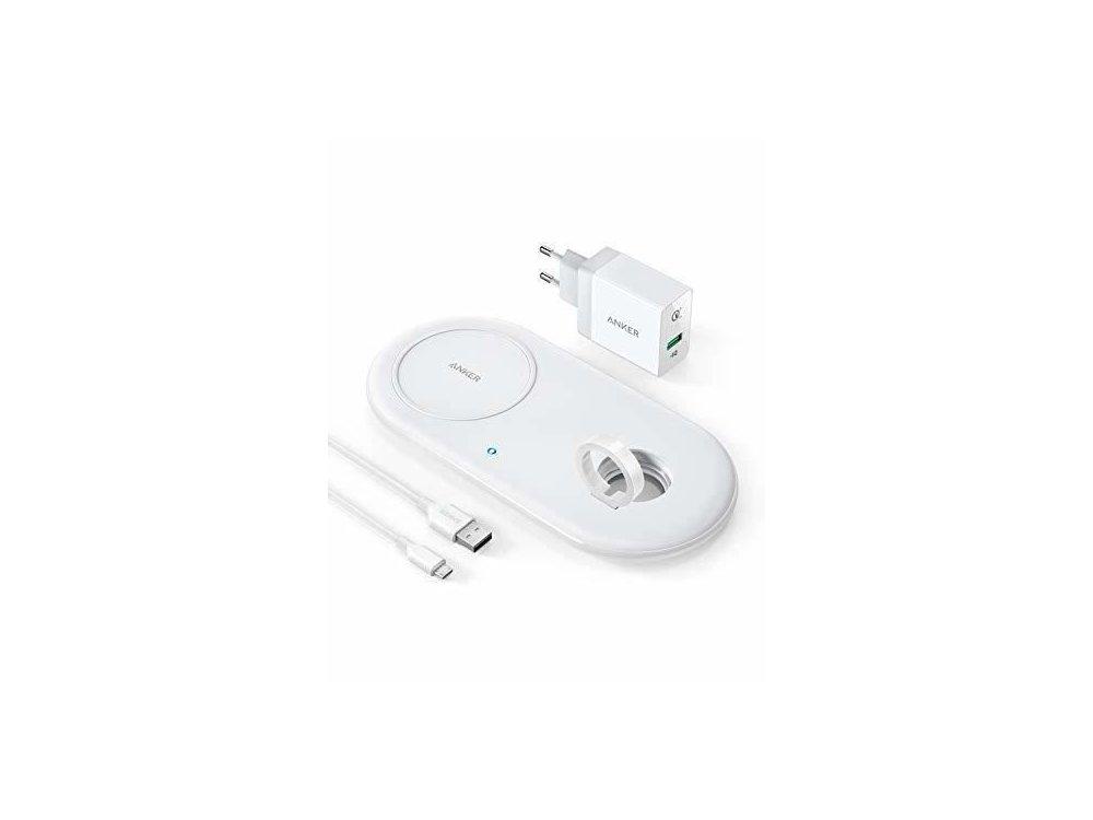Anker PowerWave+ Qi 7.5W Ασύρματος φορτιστής με Apple watch stand, Σετ με φορτιστή & καλώδιο, B2570321