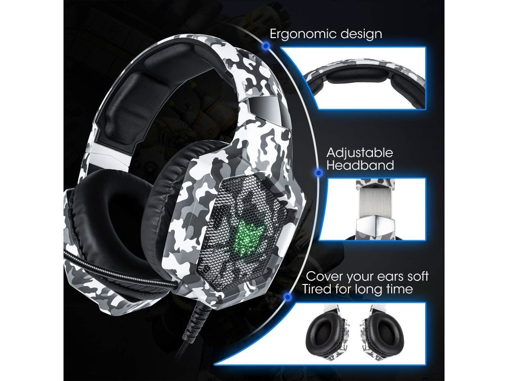 Onikuma K8 Camouflage RGB LED Gaming Headset 7.1 Noise-cancelling Microphone (PC / PS4 / Xbox / Switch / Mac / iOS), Camo White