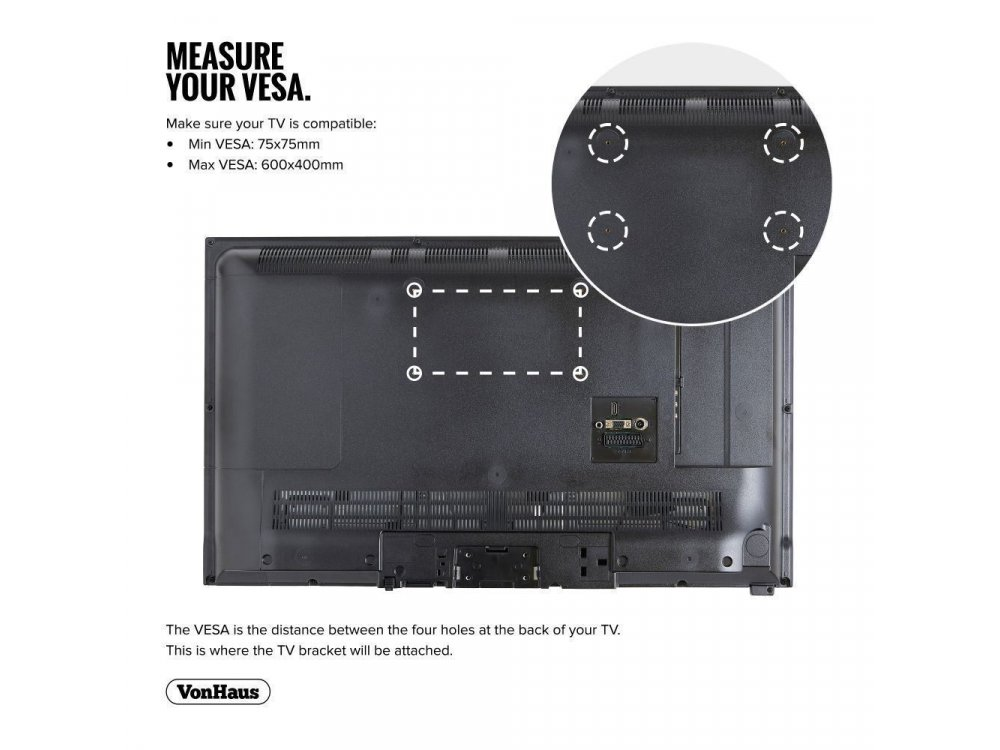 "VonHaus Ultra Slim TV Mount, Επικλινόμενη Βάση για TV 32""-65"", έως 75kg - 05/023x"