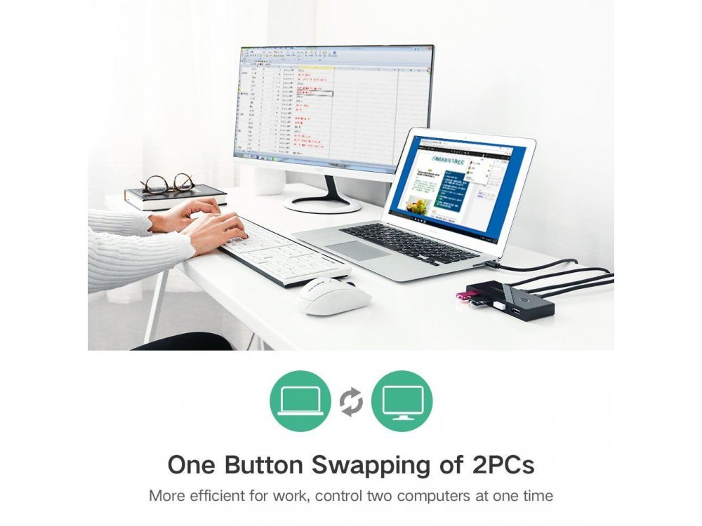 Ugreen USB 2.0 Switch, 4 in - 2 Out Για διαμοιρασμό 4 συσκευών USB (Mouse, Keyboard, Scanner, Printer) σε 2 PC - 30767