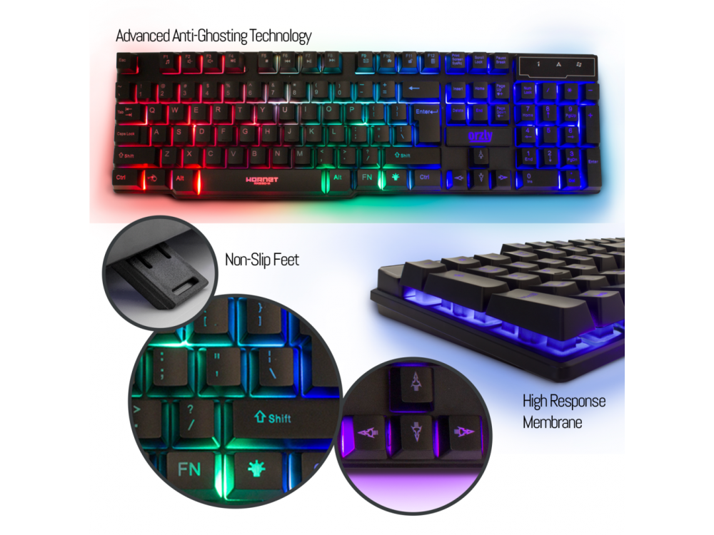 Orzly Hornet RX250 4-in-1 Essential Pack, RGB Gaming bundle (PC / PS4 / Xbox)