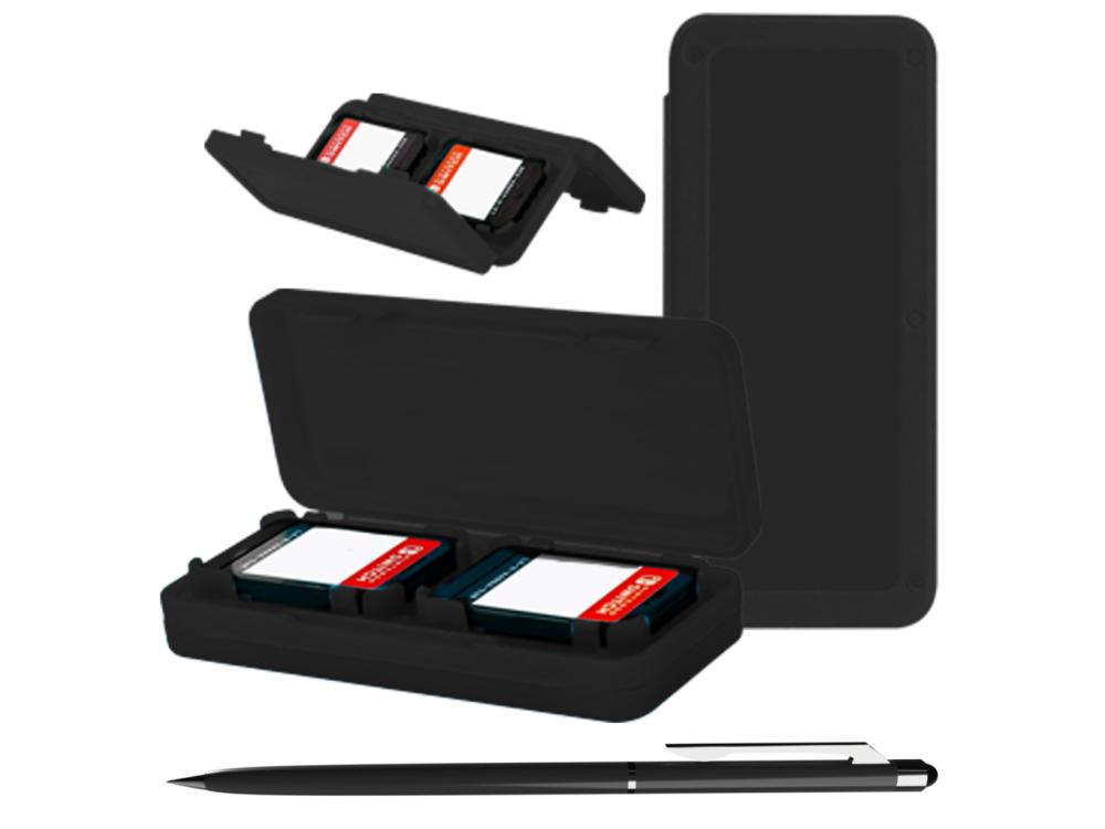 Orzly Nintendo Switch Lite Accessories Bundle - 2x Glass Screen Protector, καλώδιο USB, θήκη μεταφοράς, Card Games κ.α. Μαύρο