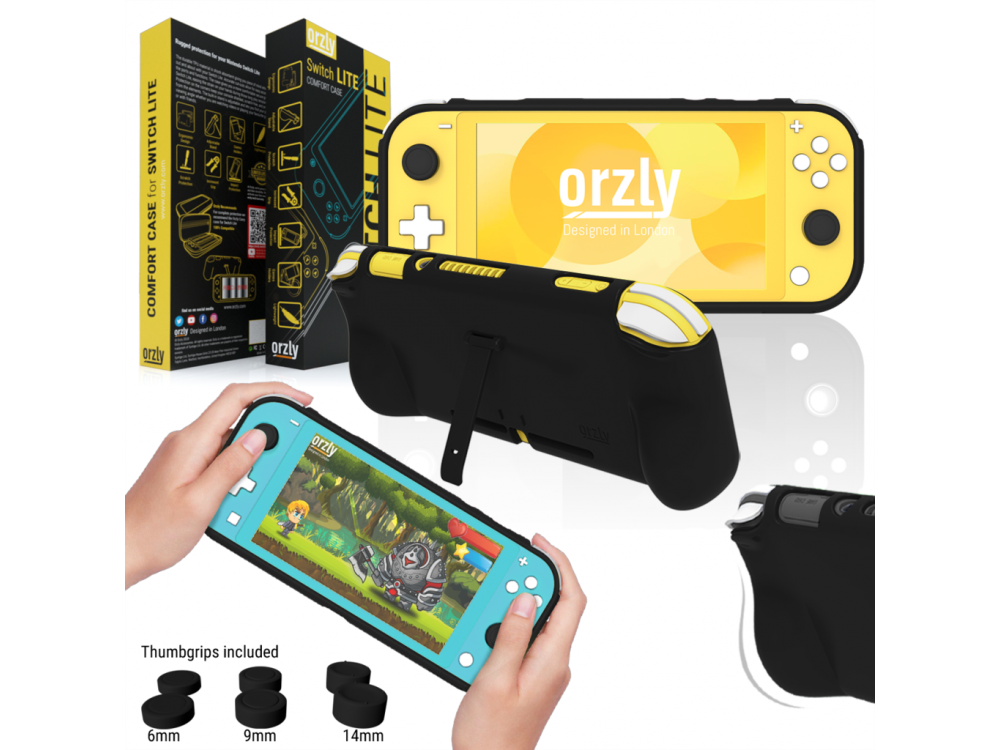 Orzly Nintendo Switch Lite protective cover / Comfort Grip with Kickstand & Pack of 6 Thumb Grips - Black