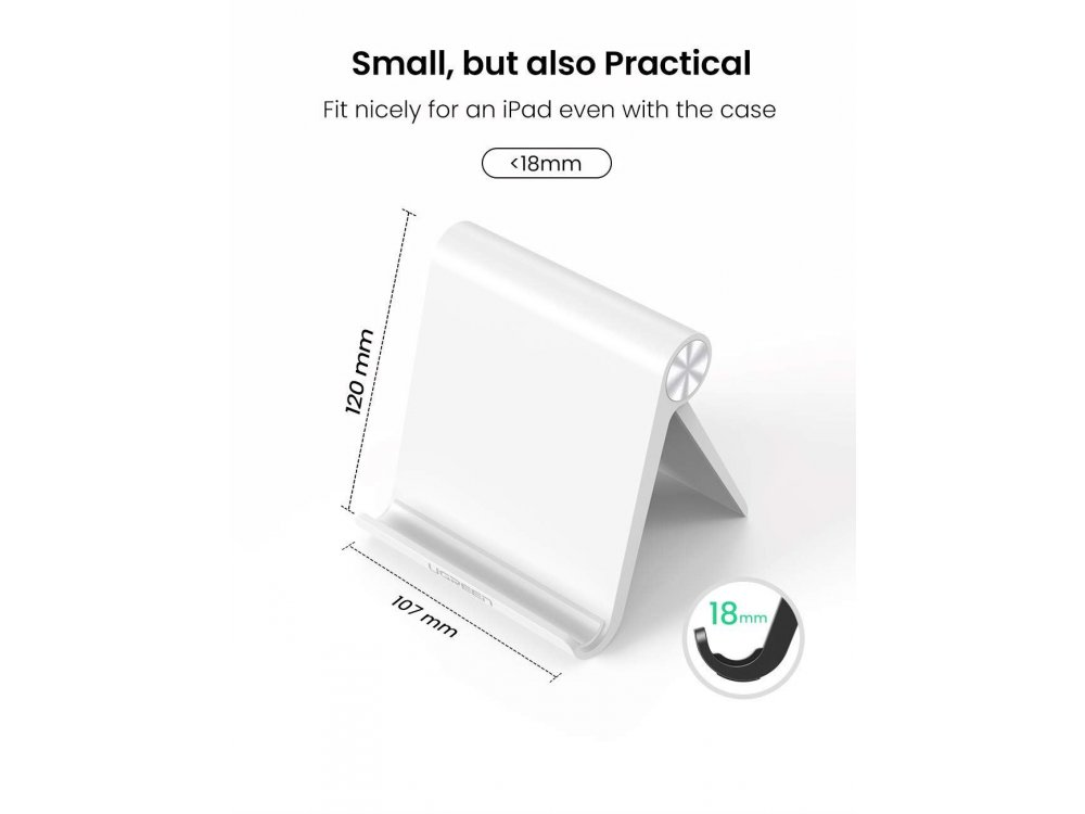 Ugreen Multi-Angle Stand Holder for Tablet/E-reader (120mm x 107mm), White - 30485