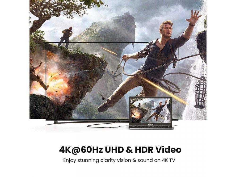 Ugreen USB-C to HDMI 4K@60Hz Adapter (Thunderbolt 3 / HDMI 2.0) Nylon Braiding, Black - 70444