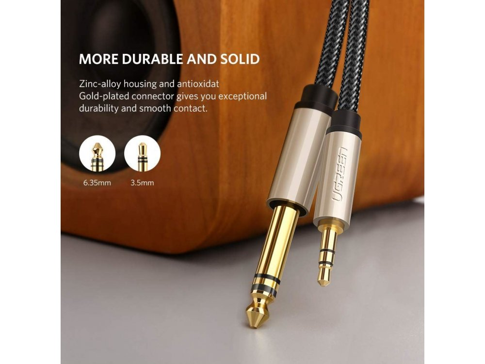 Ugreen 3.5mm Male to 6.35mm Male Auxiliary Stereo Audio Cable 3ft. Nylon Braiding - 10625