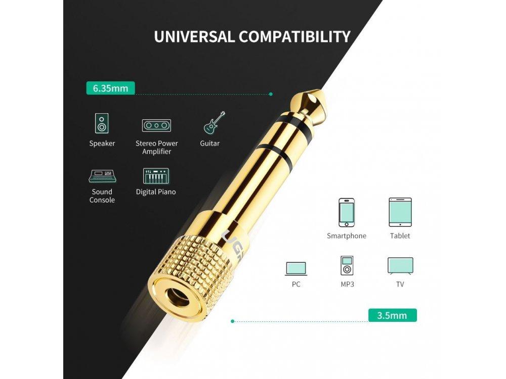 Ugreen Αντάπτορας 3.5mm Female to 6.35mm Male, Χρυσός - 20503