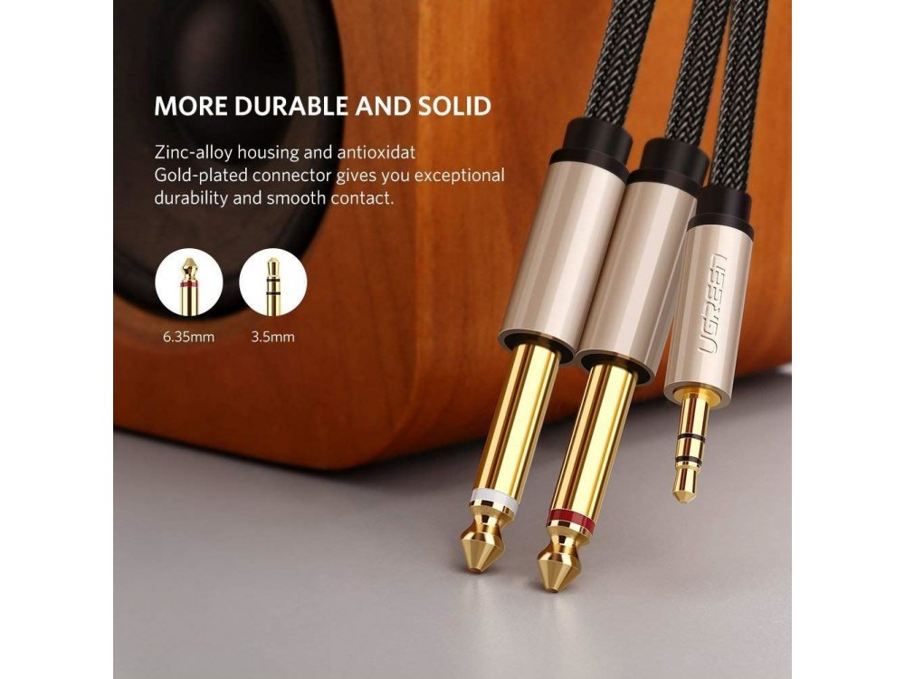 """Ugreen 3.5mm Male to 6.35mm 1/4"""" Male Auxiliary Stereo Y Splitter Audio Cable 3ft. Nylon Braiding - 10613"""