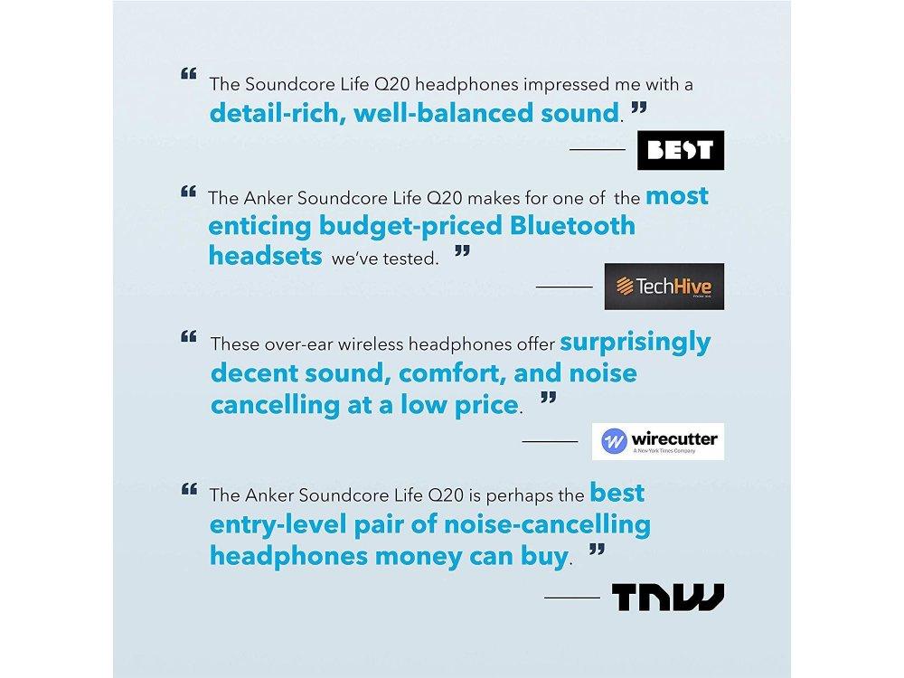 Anker Soundcore Life Q20 Bluetooth ακουστικά με Active noise cancellation - A3025011, Μαύρα