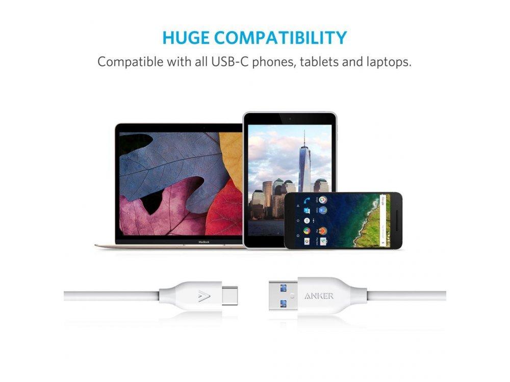 Anker Powerline USB-C σε USB 3.0, Καλώδιο 1μ. - A8163021, Λευκό