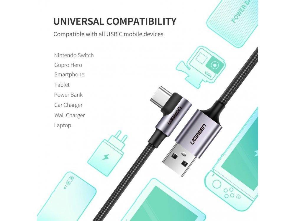 Ugreen Γωνιακό 90° USB-C καλώδιο 0,9μ. Με Νάυλον ύφανση, Μαύρο - 50941