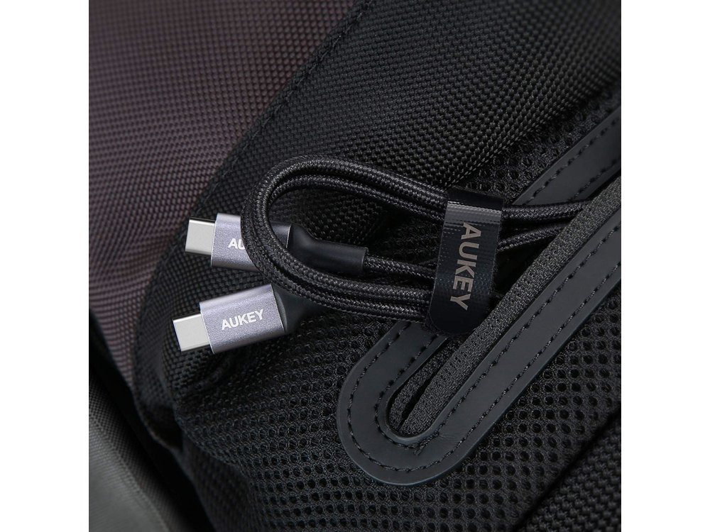 Aukey CB-CD5 1μ. Καλώδιο USB-C σε USB-C Με Νάυλον ύφανση, Μαύρο