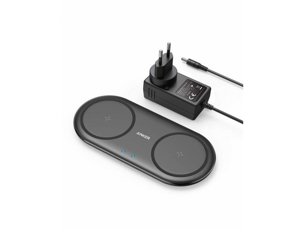 Anker PowerWave 10 Qi Dual Pad Wireless Charger 7.5W/10W, Set with wall charger  - B2571311