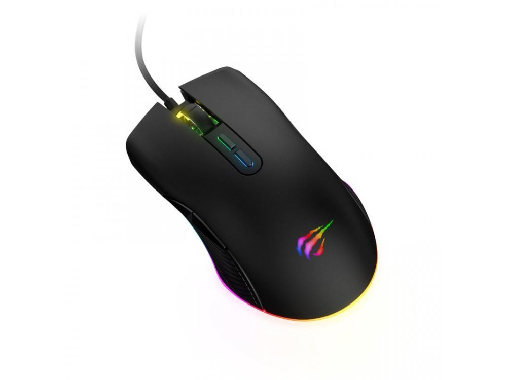 Havit MS877 RGB Optical Gaming Mouse, 800 / 1.200 /  1.600 / 2.400 DPI, 7 Buttons, Black