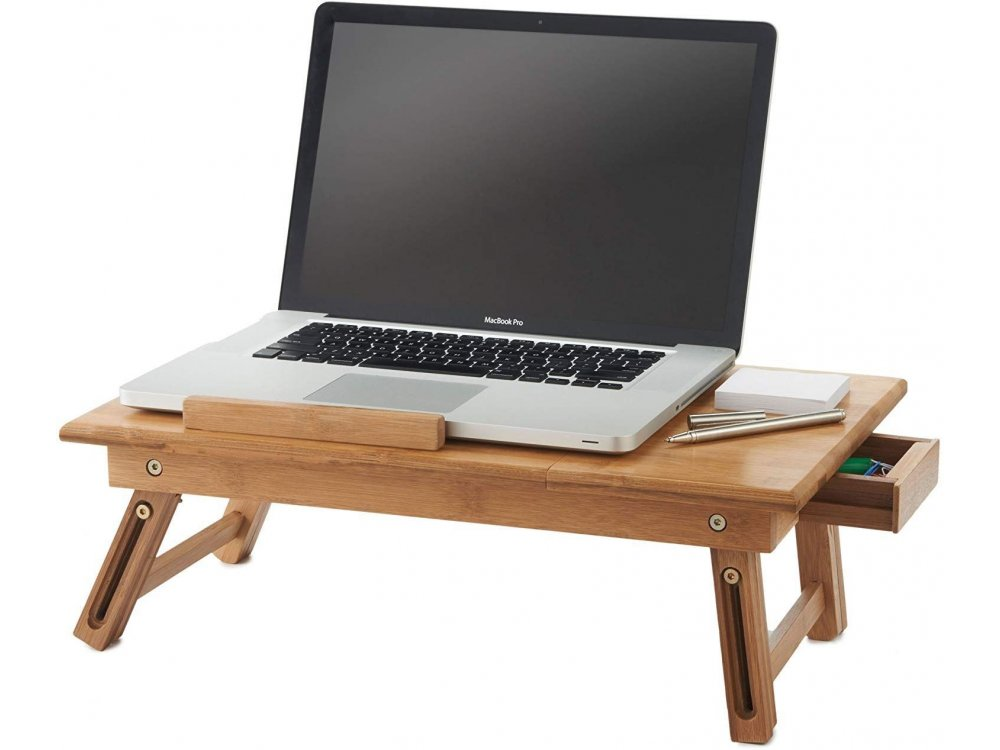 VonHaus Bamboo Tablet & Laptop Table, Tilted and foldable, Brown - 08/063