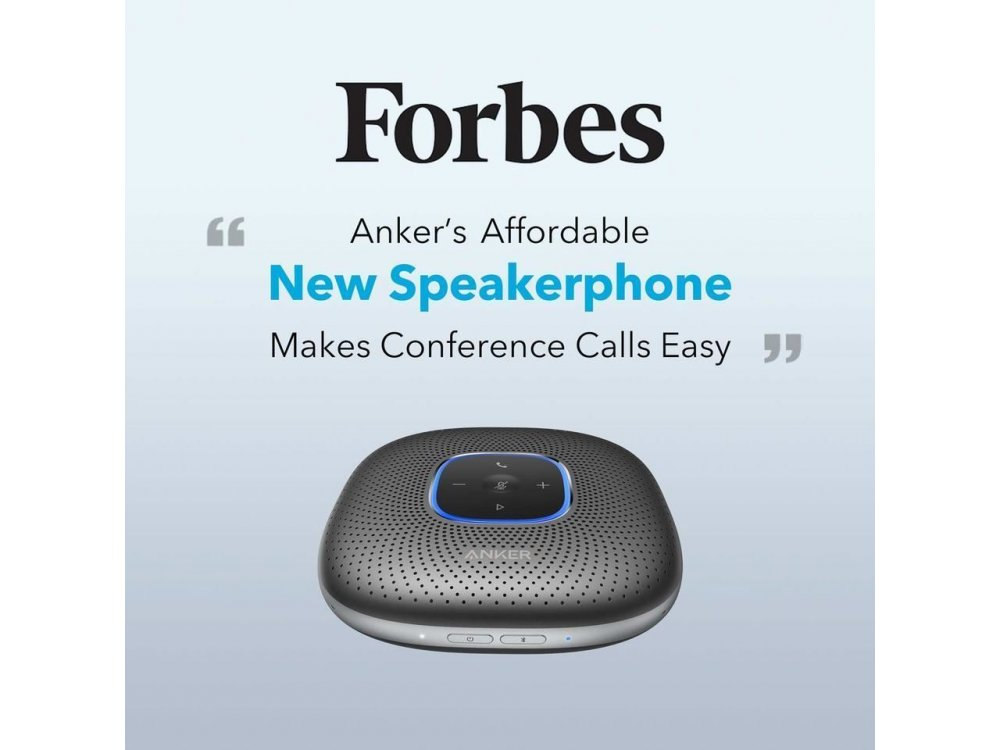 Anker PowerConf Bluetooth Speakerphone, 6 Mic, 24 Hour Call Time, BT 5.0, USB-C, Conference Speaker, PowerIQ - A3301011