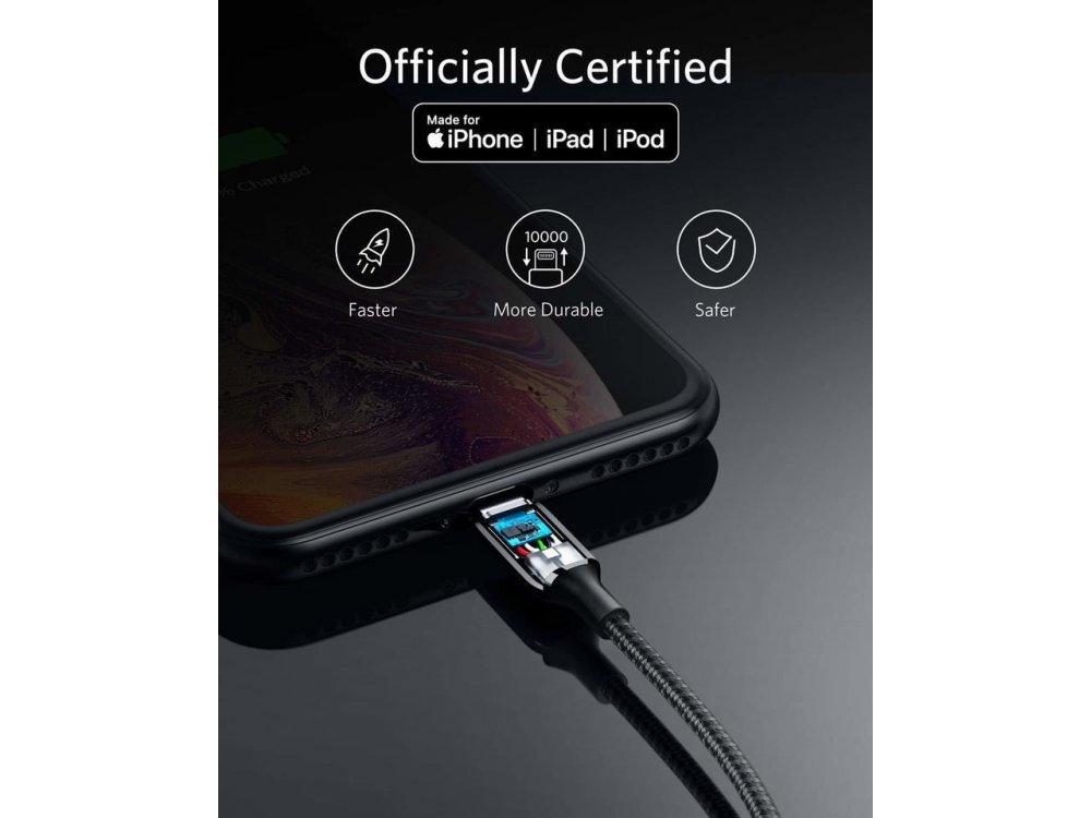 Anker PowerLine+ ΙIΙ καλώδιο Lightning για Apple iPhone / iPad / iPod MFi, 1μ. Νάυλον ύφανση - A8822011, Μαύρο