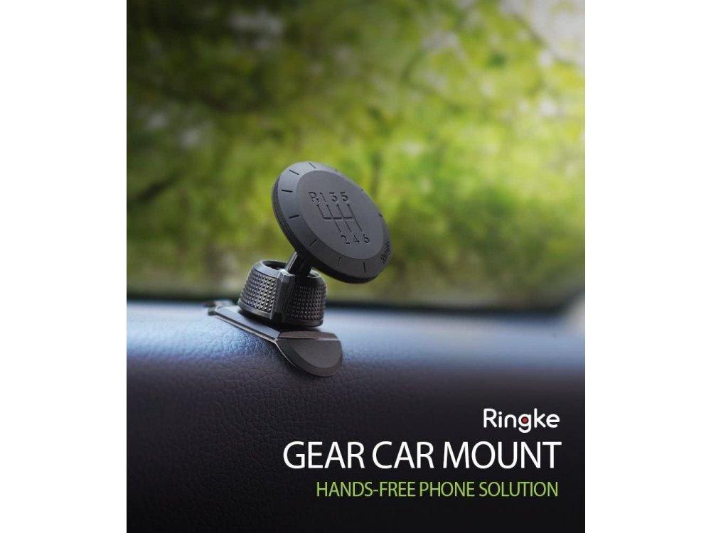 Ringke Car Gear Magnetic Mount, Βάση Αυτοκινήτου Dashboard, Carbon Fiber Pattern Swivel Lock Universal Neodymium Magnet 360°