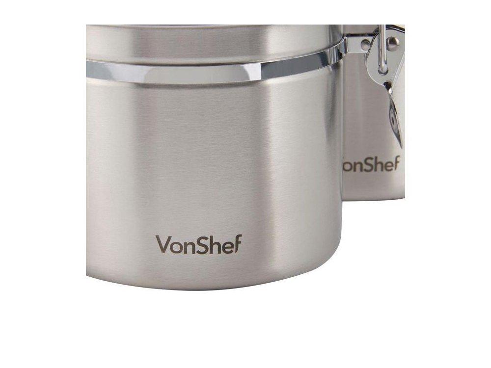 VonShef Σετ 4 Δοχείων Αποθήκευσης από ανοξείδωτο ατσάλι (Διάφορα μεγέθη) - 07/140