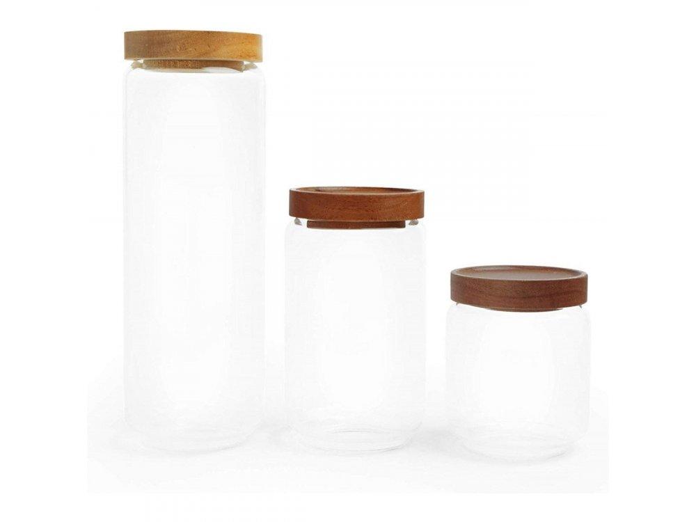 VonShef 3pc Glass Storage Jars (Various Sizes) - 1000317