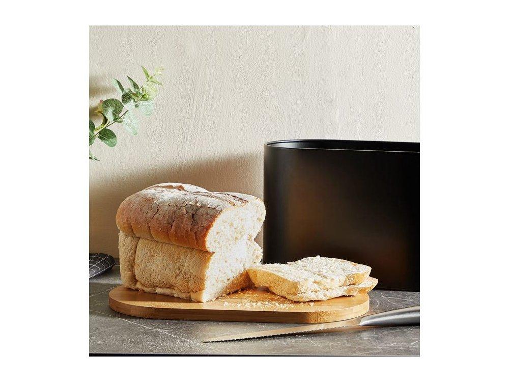 VonShef Ψωμιέρα από ανοξειδωτο ατσάλι & bamboo, 36 x 21 x 20 εκατοστά, Matte Black - 1000294