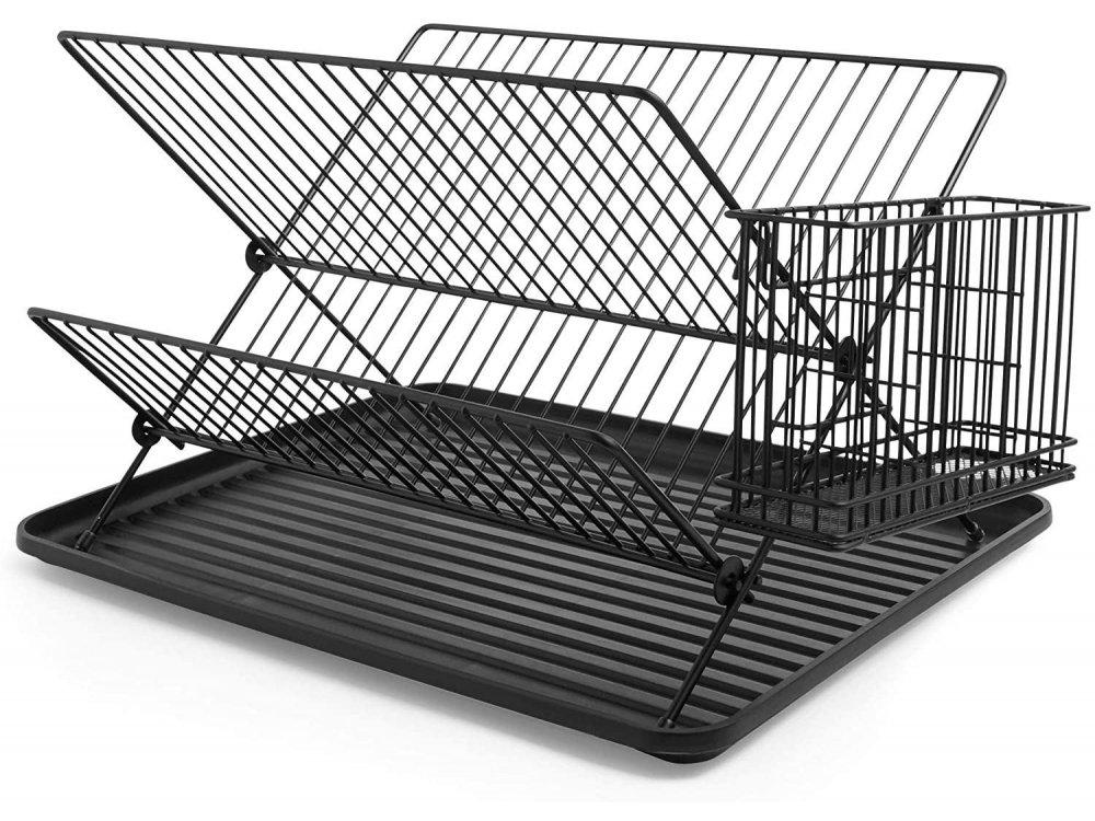 VonShef Πιατοθήκη / Στεγνωτήριο Πιάτων, Διώροφη & Θήκη για Μαχαιροπίρουνα 43 x 33 x 27cm, Matte Black - 1000289