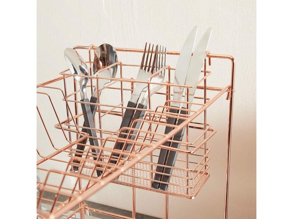 VonShef Πιατοθήκη / Στεγνωτήριο Πιάτων, Διώροφη & Θήκη για Μαχαιροπίρουνα 43 x 25 x 34cm, Rose Gold - 1000290