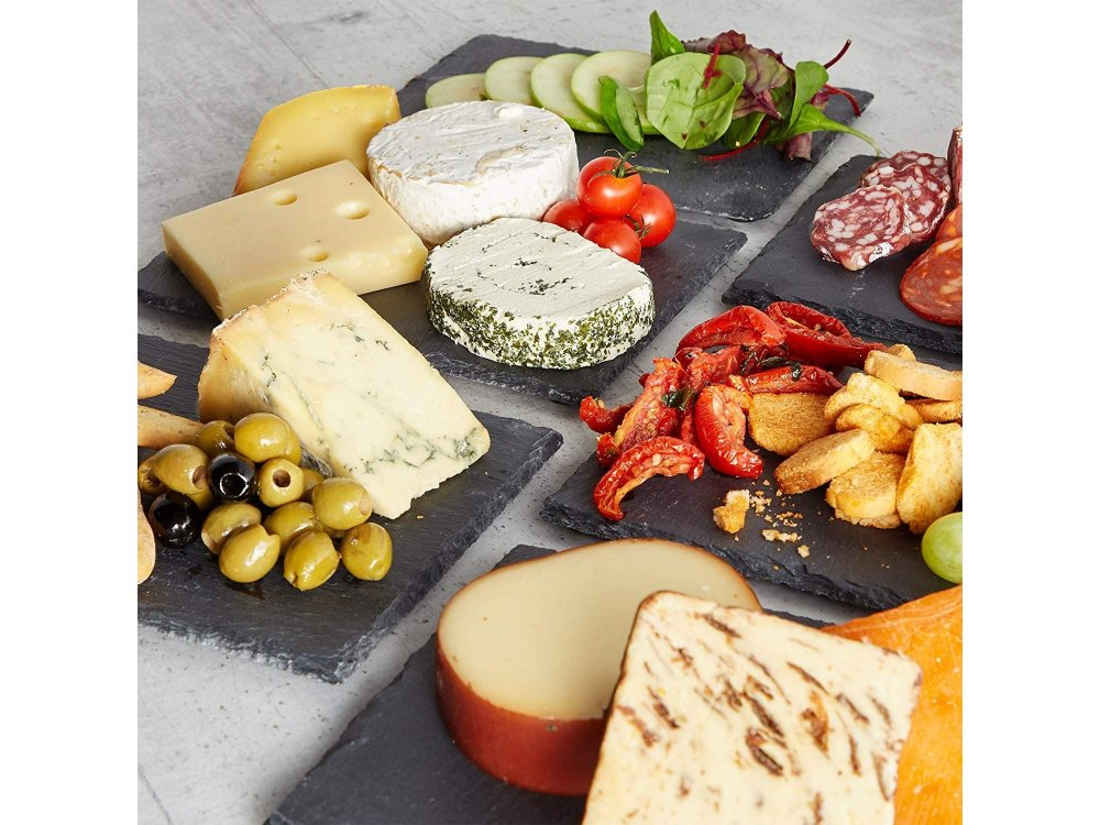 VonShef Slate Serving Tray Set, Set of 6 – Natural Edge Cheese Boards/Platters/Plates, 22cm x 16cm - 1000114
