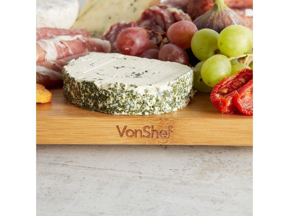 VonShef  Raised Platter Board, from Bamboo, 50cm x 25cm x 2cm - 1000182