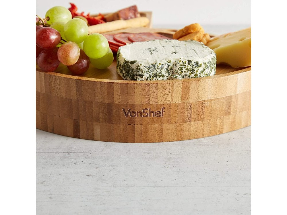 VonShef Cheese Boards with 3 piece Knive Set, 3 Stores, Bamboo - 1000135