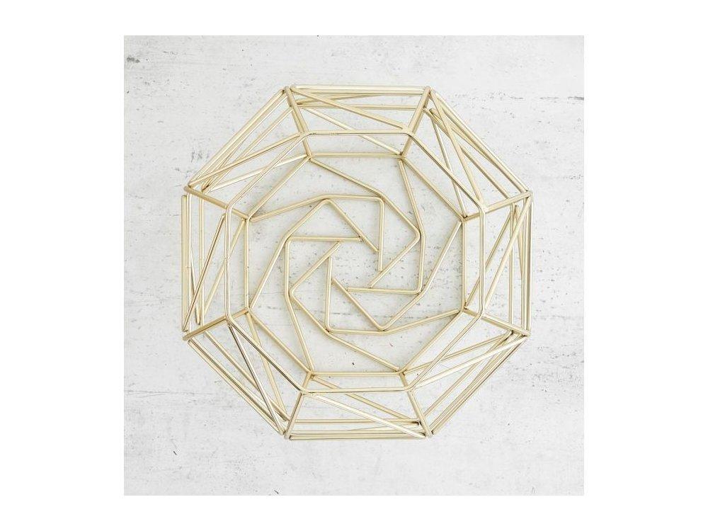 VonShef Φρουτιέρα, Γεωμετρικό Μπολ Φρούτων/Λαχανικών από Ανοξείδωτο Ατσάλι, Διάμετρος 26cm x 20cm Ύψος, Gold - 1000197