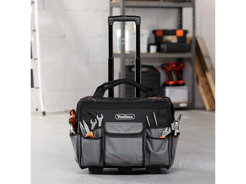 VonHaus Heavy Duty  Rolling Tool Bag with telescopic handle - 3500067