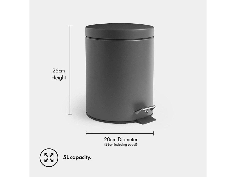 VonHaus Κάδος Απορριμάτων & Ανακύκλωσης, 26 x 20 x 23 εκατοστά, 5L, Grey - 1000282