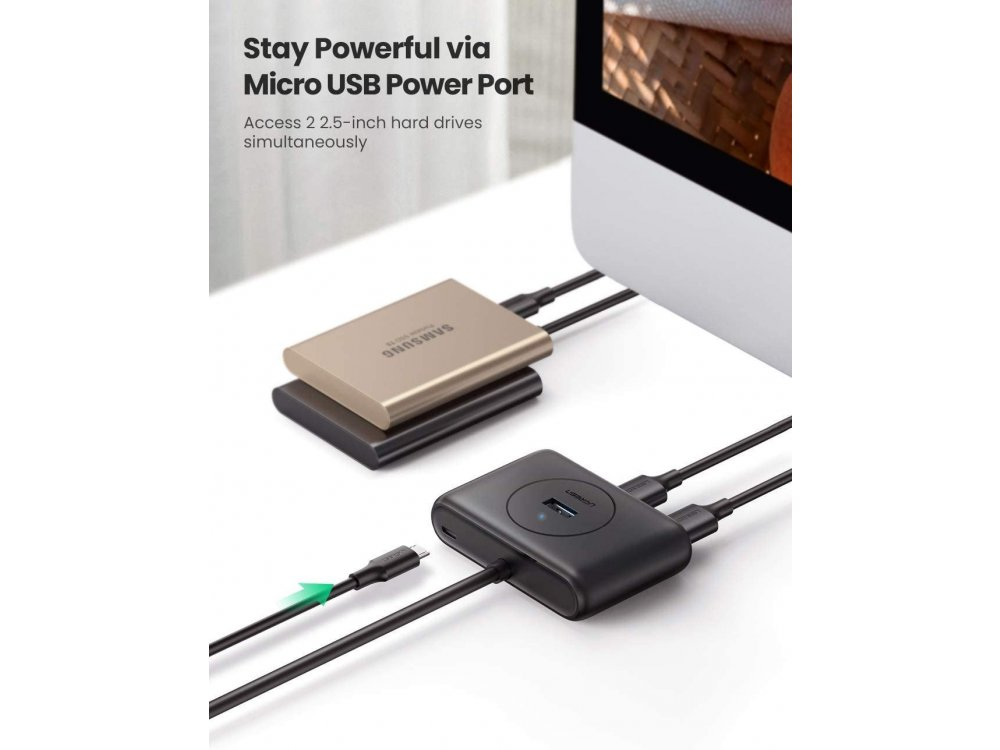 Ugreen Slim USB 3.0 4 Port Data Hub, with 1.5ft. cable - 20290