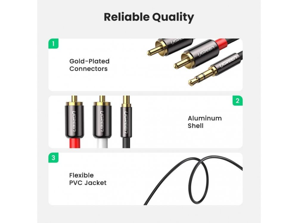 Ugreen 3.5mm Male to 2RCA Male 3μ. Auxiliary Stereo Y Splitter Audio Cable - 10590