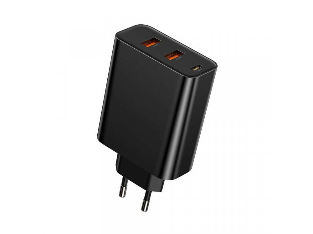 Baseus Speed Φορτιστής πρίζας 60W 3 Θυρών με Power Delivery, PPSD και QC4.0, Μαύρος - CCFS-G01