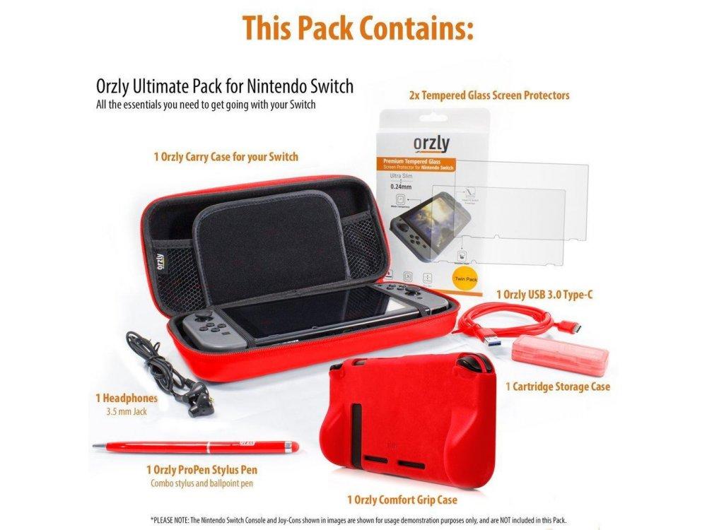 Orzly Nintendo Switch Accessories Bundle - 2x Glass Screen Protector, καλώδιο USB, Carry Case, Θήκη Card Games, Grip, Kόκκινο