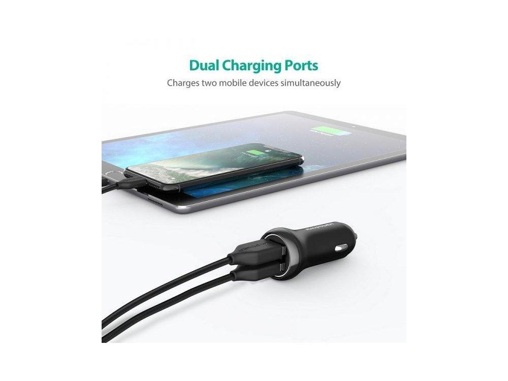 RAVPower 12W 2-Port USB Φορτιστής Αυτοκινήτου - RP-PC085
