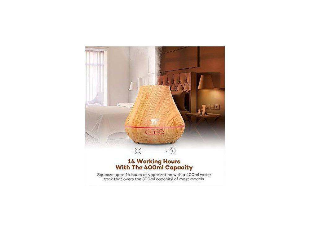 TaoTronics TT-AD004 400ml, Oil Diffuser Συσκευή Αρωματοθεραπείας, Adjustable 7 Color, Timer & Auto Shut-Off, Light Wood