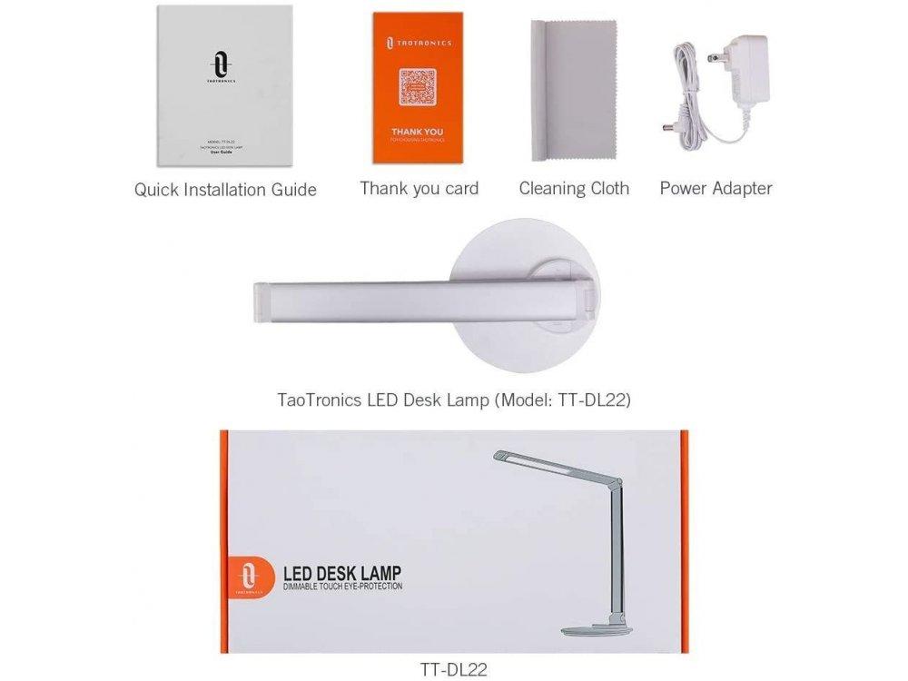 TaoTronics TT-DL22 LED Desk Lamp with Touch Control & USB port, 3 Color Modes, 6 Brightness Levels, Aluminium, Silver