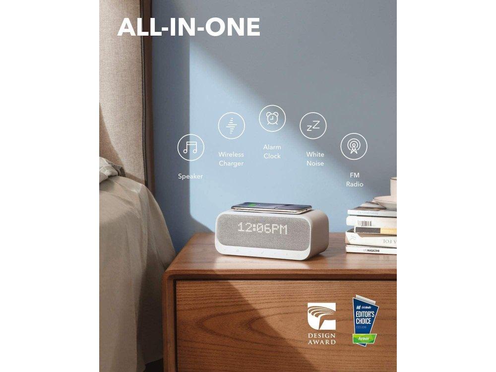 Anker Soundcore Wakey Bluetooth Ηχείο & Ρολόι / Ξυπνητήρι με FM Radio, White Noise & 10W Ασύρματος φορτιστής - A3300121, Λευκό
