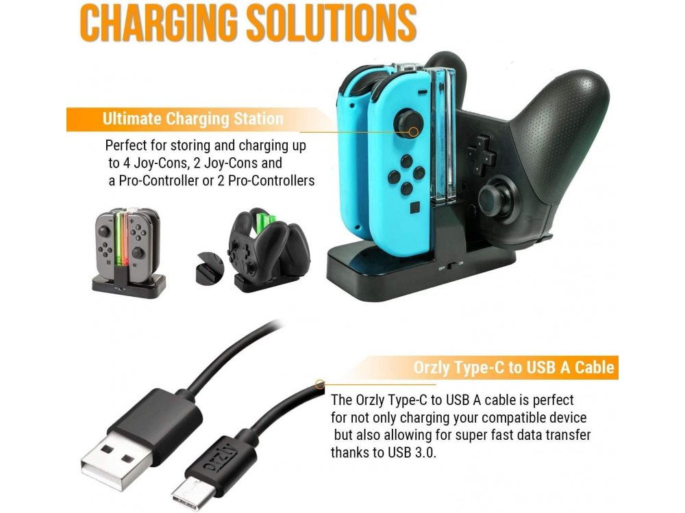Orzly Nintendo Switch Geekpack Accessories Bundle - 2x Glass Screen Protector, cable, Case, Game case, Charger ect - Black