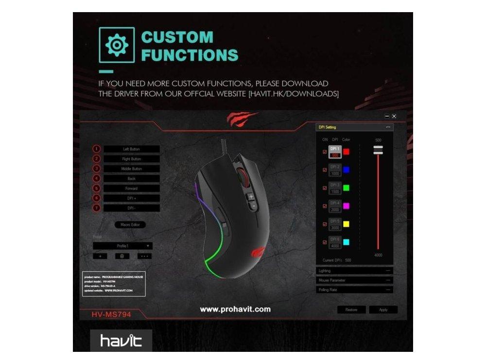 Havit MS794 RGB Optical Προγραμματιζόμενο Gaming Mouse, 500 / 1.000 / 1.500 / 2.000 / 3.000 / 4.000 DPI, 7 Buttons, Μαύρο