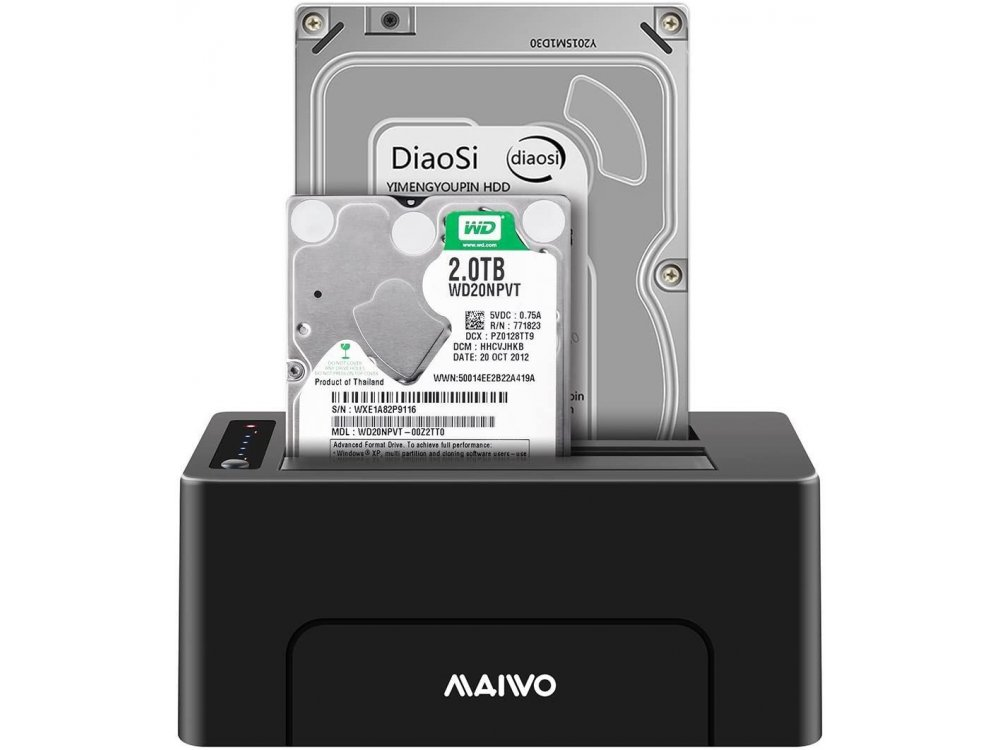 Maiwo K3082 SATA HDD/SSD Docking Station, USB-A 3.1 GEN1 5Gbps, Dual  Bay with Clone Duplicator