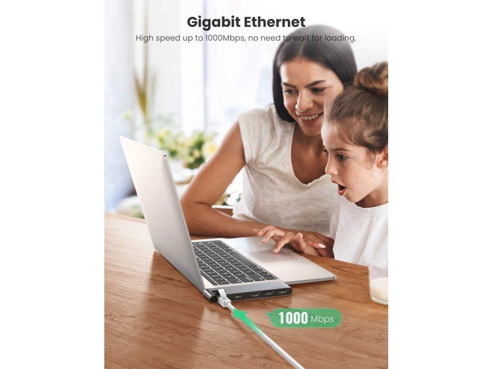 Ugreen 5-in-2 Type-C Pro Hub 8K Thunderbolt για Macbook Pro/Air 100W, 4K HDMI + 2*USB3.0 Θύρες + Ethernet - 50984