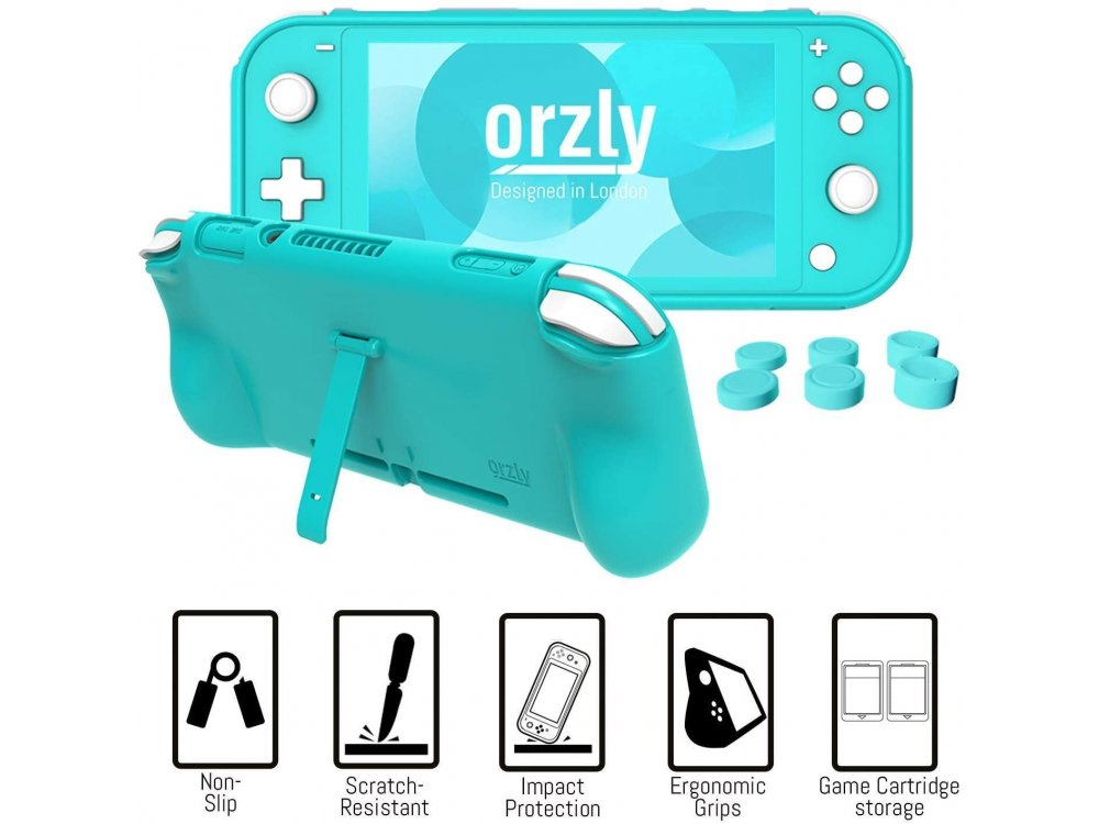 Orzly Nintendo Switch Lite Accessories Bundle - 2x Glass Screen Protector, USB cable, carrying case, headphones ect, Turquoise