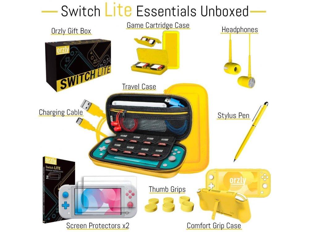 Orzly Nintendo Switch Lite Accessories Bundle - 2x Glass Screen Protector, καλώδιο USB, θήκη μεταφοράς,Cards κ.α. Yellow