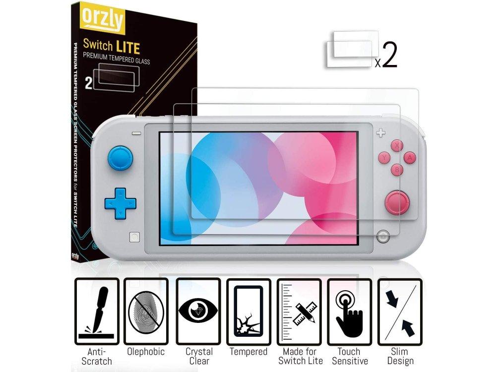 Orzly Nintendo Switch Lite Accessories Bundle - 2x Glass Screen Protector, καλώδιο USB, θήκη μεταφοράς,Cards κ.α. Grey